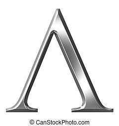 3D Silver Greek Letter Lambda