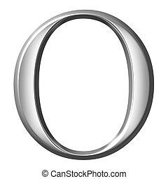 3D Silver Greek Letter Omikron
