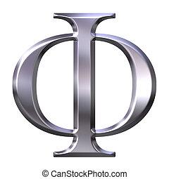 3D Silver Greek Letter Phi - 3d silver Greek letter Phi...