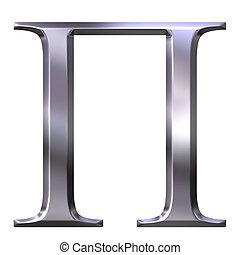 3D Silver Greek Letter Pi