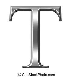 3D Silver Greek Letter Tau