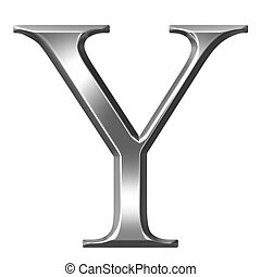 3D Silver Greek Letter Ypsilon