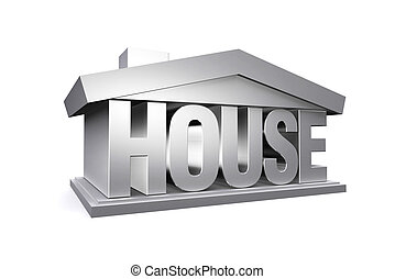 3d silver house on white background.