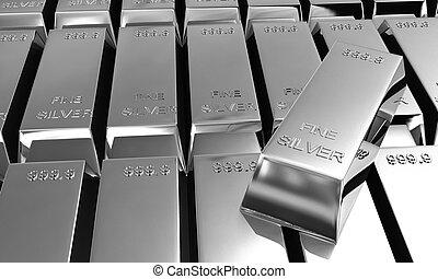 3d silver ingots - stack of a lot of shiny silver ingots