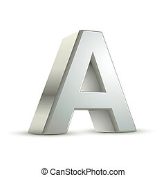 3d silver letter A isolated white background