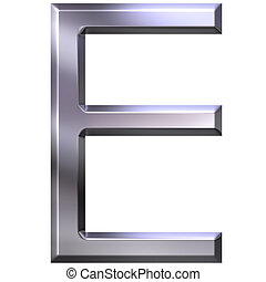 3D Silver Letter E - 3d silver letter E isolated in white