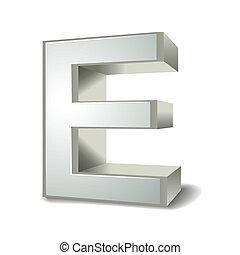3d silver letter E