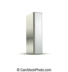 3d silver letter I