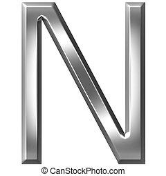 3D Silver Letter N