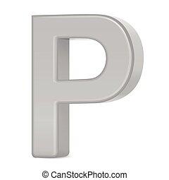 3d silver letter P