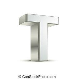 3d silver letter T