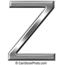 3d silver letter Z isolated in white