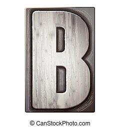 3d silver letterpress alphabet B