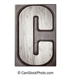 3d silver letterpress alphabet C