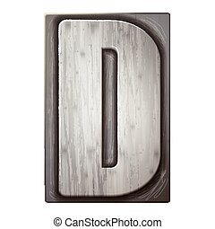3d silver letterpress alphabet D
