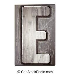 3d silver letterpress alphabet E