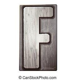 3d silver letterpress alphabet F