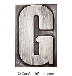 3d silver letterpress alphabet G