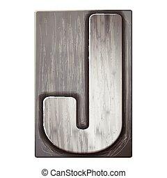 3d silver letterpress alphabet J