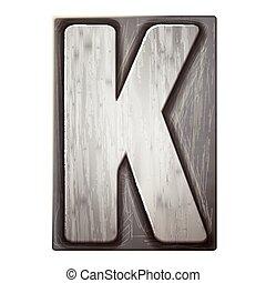 3d silver letterpress alphabet K