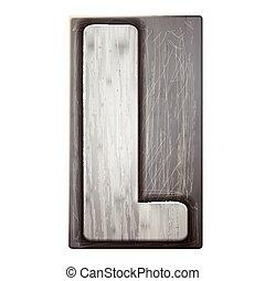 3d silver letterpress alphabet L