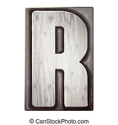 3d silver letterpress alphabet R