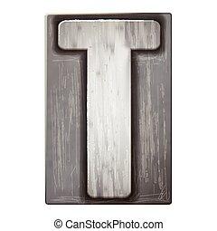 3d silver letterpress alphabet T
