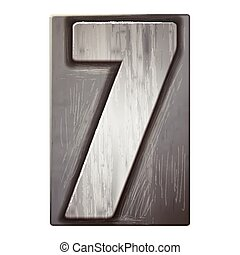 3d silver letterpress number 7 isolated on white background