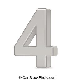 3d silver number 4