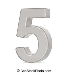 3d silver number 5