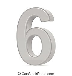 3d silver number 6