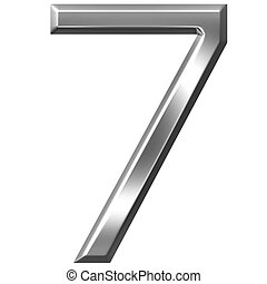 3D Silver Number 7 - 3d silver number 7 isolated in white