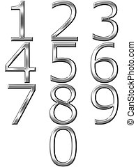 3d silver numbers isolated in white