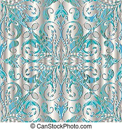 3d silver Paisley vector seamless pattern.