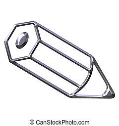 3D Silver Pencil