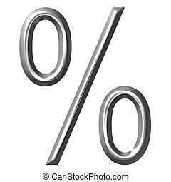 3D Silver Percent Symbol