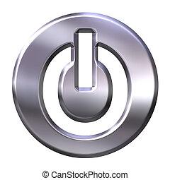 3D Silver Power Button