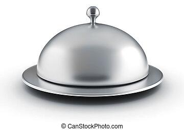 3d silver restaurant cloche on white background