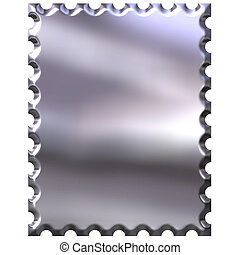 3D Silver Stamp - 3d silver stamp isolated in white