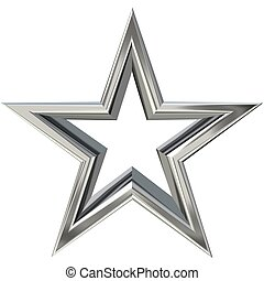3D silver star - 3D rendering of silver star front view