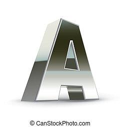 3d silver steel letter A