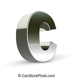 3d silver steel letter C