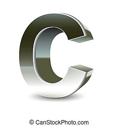 3d silver steel letter c isolated white background.
