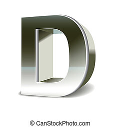 3d silver steel letter D isolated white background