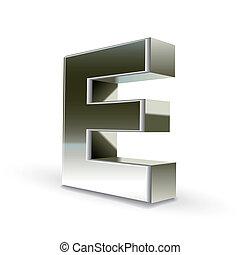 3d silver steel letter E