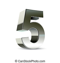3d silver steel number 5