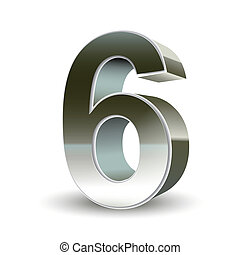 3d silver steel number 6