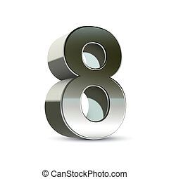 3d silver steel number 8