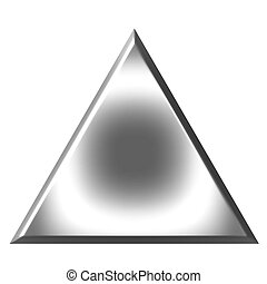 3d silver triangle isolated in white