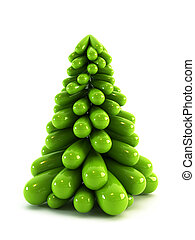 3d, simbólico, árbol de navidad